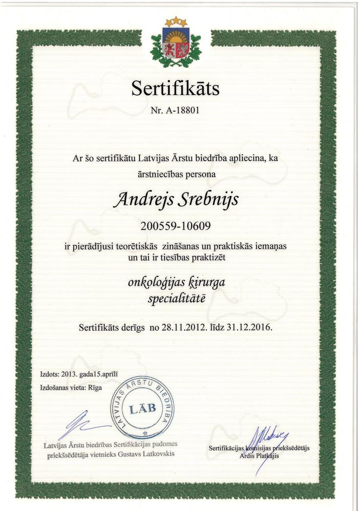 Andrejs Srebnijs | Sertificēts ķirurgs-onkologs